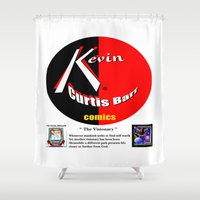 kevin russ Shower Curtains featuring KEVIN CURTIS BARR COMICS' LOGO by KEVIN CURTIS BARR'S ART OF FAMOUS FACES