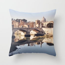 Reflections of Rome in the Tiber Throw Pillow
