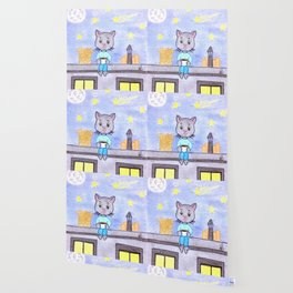 Coffe cat on a roof Wallpaper