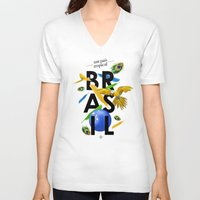 brasil V-neck T-shirts featuring BRASIL Feather - CAPOEIRA RULES by NELOS Cisneros