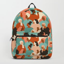 Female diverse faces of different ethnicity Backpack