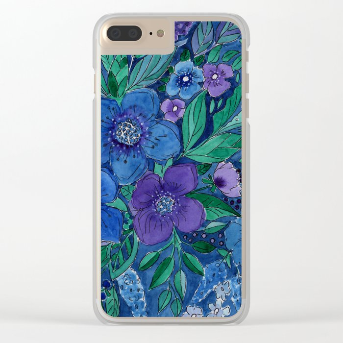 Watercolor . Blue flowers . Clear iPhone Case