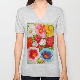 Colorful Tuberose Begonias Vintage Flowers 1896 Unisex V-Neck