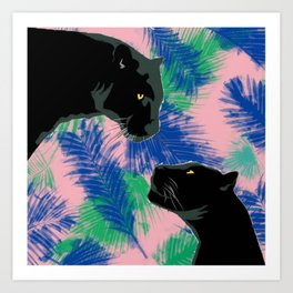 Panthers with palm leaves Art Print