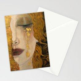 Golden Tears (Freya's Heartache) portrait painting by Gustav Klimt Stationery Cards