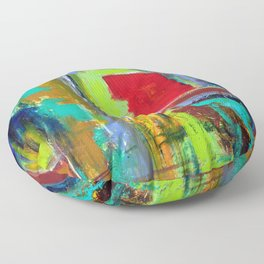The never ending Maze: Bright Multi Color Abstract Painting Floor Pillow