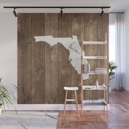Florida is Home - White on Wood Wall Mural