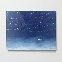 Follow the garland of stars, ocean, sailboat Metal Print