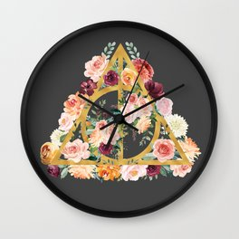Watercolor Deathly Hallows - Gold/Charcoal Wall Clock