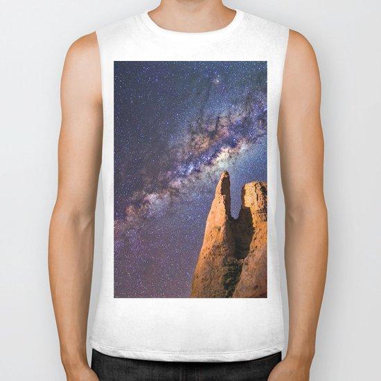 Night sky iii - galaxy Biker Tank