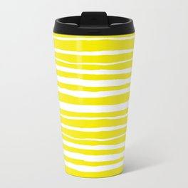 Small Sun Yellow Handdrawn horizontal Beach Stripes - Mix and Match with Simplicity of Life Travel Mug