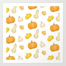 Pumpkins & Squash Pattern Art Print