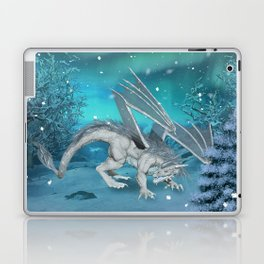 Awesome ice dragon in the winter landscape Laptop & iPad Skin