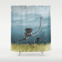 runner Shower Curtains featuring Runner by Tony Vazquez