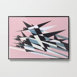 Soaring To Success, Abstract Geometric Retro Vintage Poster Metal Print