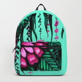 Beautiful Bold Pink Green Delicate Hanging Flowers Backpack