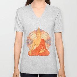 Sitting Buddha over ornate mandala round pattern Unisex V-Neck