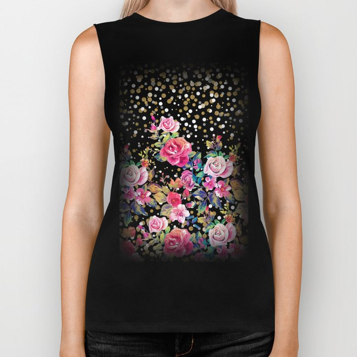 Modern watercolor spring floral and gold dots pattern Biker Tank
