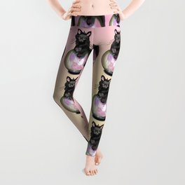 Black cat with a pink glow crystal ball Leggings