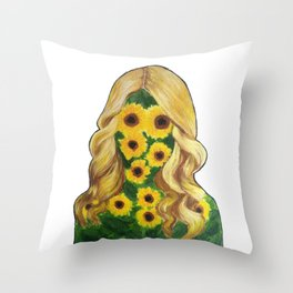 Sunflower Girl Throw Pillow