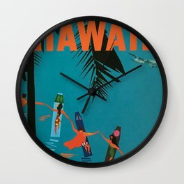 Surfing Hawaii - Jet Clippers to Hawaii Vintage Travel Poster Wall Clock