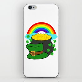 Pot Of Gold Hat And Rainbow Clover St Patricks Day iPhone Skin