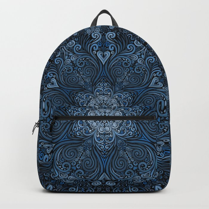 Blue 3D Mandala Ornate Pattern Backpack