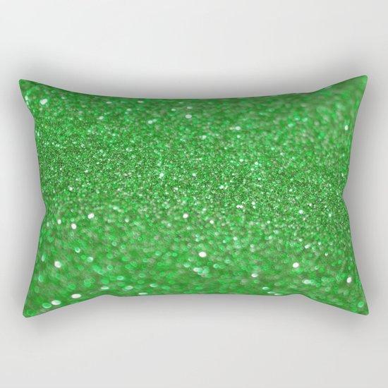 Bright Green Glitter Rectangular Pillow