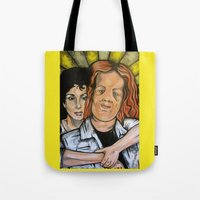 mask Tote Bags featuring Mask  by Portraits on the Periphery