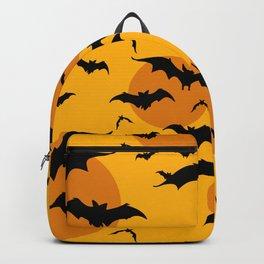 Abstract orange yellow black halloween bats animal pattern Backpack