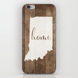 Indiana is Home - White on Wood iPhone Skin