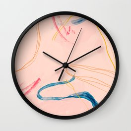 Abstract Vintage Line, Cotton Candy Pink Wall Clock