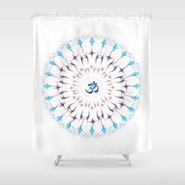 Ohm mandala or Sri Chakra energy generator Shower Curtain