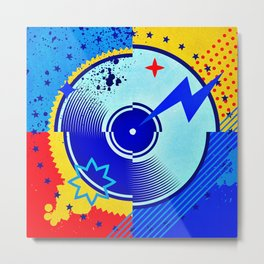 Retro Vinyl Album Music Pop Art Metal Print