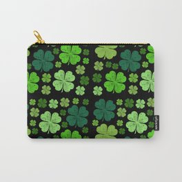 Saint Patrick's Day, Four Leafed Clovers - Green Carry-All Pouch