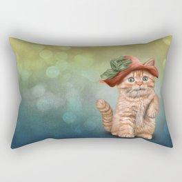 Little funny striped kitten in a big hat Rectangular Pillow