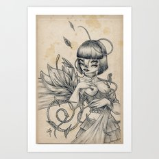 Girl and Flower Art Print
