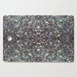 Sparkly colourful silver mosaic mandala Cutting Board
