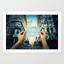 holding wifi symbol Art Print