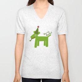 Party Animal-Green Unisex V-Neck
