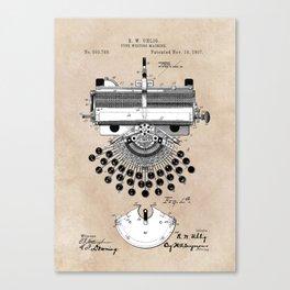 patent art type writing machine Canvas Print