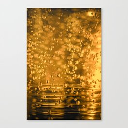 Golden water bubbles closeup macro with blurry effects Canvas Print