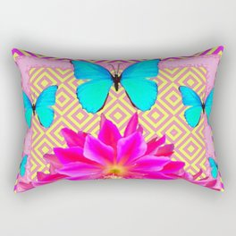 Fuchsia Orchid Flowers Turquoise Butterfly Yellow Patterns Rectangular Pillow