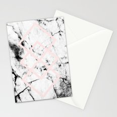 White Marble Concrete Look Blush Pink Geometric Squares Stationery Cards