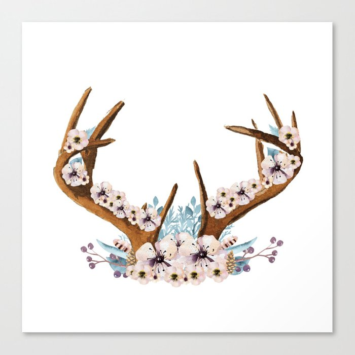 The Stag Fall Florals Canvas Print