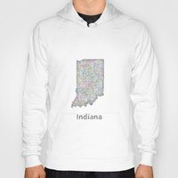 indiana Hoodies featuring Indiana map by David Zydd