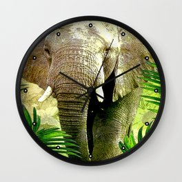 African Elephant Wall Clock
