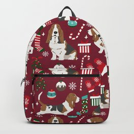 Basset Hound christmas pattern christmas dog breed pet friendly gifts Backpack