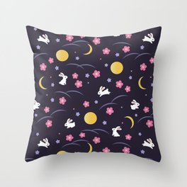 Moon Rabbits V2 Throw Pillow