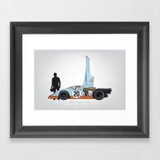 Outline Series N.º4, Steve McQueen, Porsche 917, Le Mans movie 1971 Framed Art Print